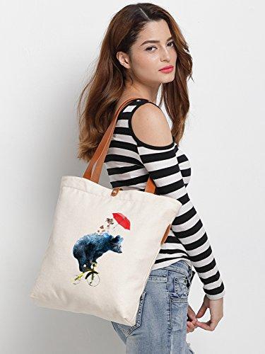 IN.RHAN Women's Bear Dog Graphic Canvas Tote Bag Casual Shoulder Bag Handbag