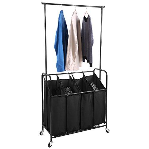PaPafix Folding Laundry Washing Basket Bag 4 Section Foldable Fabric Laundry Hamper Sorter with Adjustable Hanging Bar, Heavy-Duty Wheels 4-Bag,Black (4 Section with Hanging Bar)