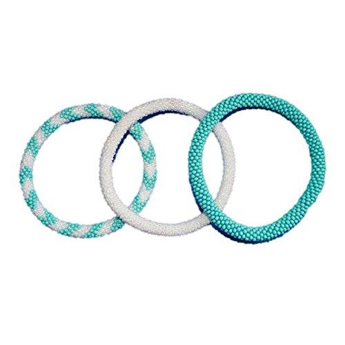 Nuptse Turquoise Blue White Crocheted Beaded Bracelets Set,Seed Beads,Nepal, BS520