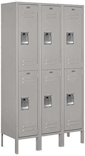 Salsbury Industries Assembled 2-Tier Standard Metal Locker with Three Wide Storage Units, 5-Feet High by 12-Inch Deep, Gray