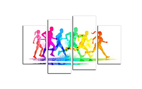 NAN Wind Large Modern 4 Pcs Wall Decor Colorful Silhouette Group Of Runners Marathon Action Figure Sport Young Symbol Artwork Oil Paintings on Canvas Wall Art Ready to Hang for Home Office (Symbols Canvas Art)