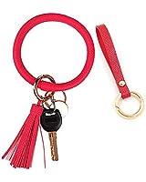 Bangle Keychain Key Ring, Leather Wristlet Strap Bracelet Key Holder Lanyard Keychain with Tassel for Women Men Girls (Red)