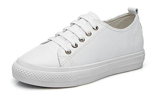 Aisun Vrouwen Casual Comfortabele Lage Top Ronde Neus Lace Up Platte Platform Sneakers Skateboard Schoenen Wit