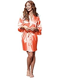 Women's Pure Color Satin Short Kimono Bridesmaids...
