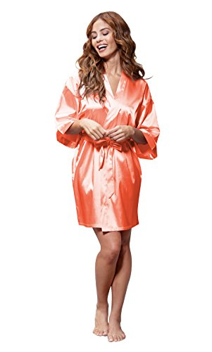 Satin kimono bridesmaids robe (Large, Coral) (Orange Robe)