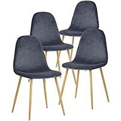 GreenForest Dining Chairs for Kitchen,Elegant Velvet Back and Cushion, Mid Century Modern Side Chairs Set of 4,Grey