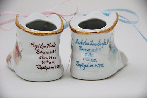 Porcelain Baby Shoe - Baptism or Christening - 100% Hand Painted Ceramic Baby Shoe Keepsake