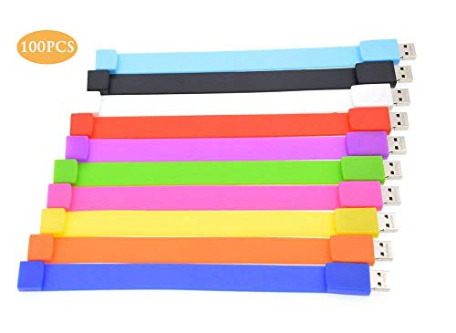 (Thumb Drive 1GB Pack of 100 USB 2.0 Flash Drives - Personalized Bracelet Bulk Memory Sticks Pendrive - Multicoloured Data Stick Zip Drive by FEBNISCTE)