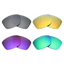 MRY 4 Pairs POLARIZED Replacement Lenses for Oakley Jupiter Squared Sunglasses-Black Iridium/24K Gold/Plasma Purple/Emerald Green