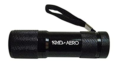 KMD Aero Red Light LED Black Aluminum Aviator Flashlight Preserves Night Vision for Aviation, Astronomy, Camping, Hunting, Turtle Watching, and more