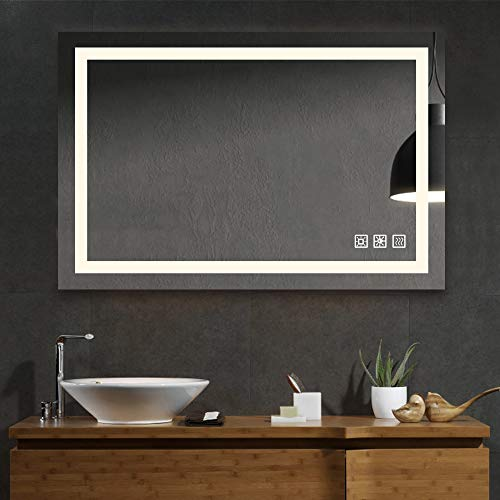 SL4U 24x36 Inch LED Lighted Bathroom Mirrors for Wall with Dimmable Warm -