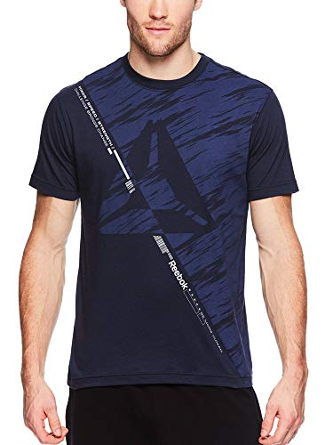 Reebok Men's Graphic Workout Tee - Short Sleeve Gym & Training Activewear T Shirt - Aeon Navy, Small