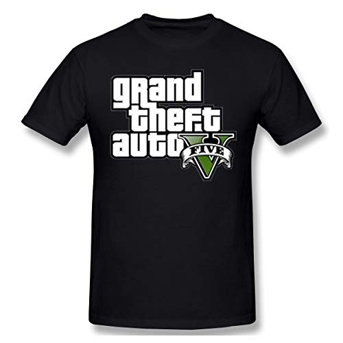 HiPiClothK Men's Grant Theft Auto Five G-T-A5 Logo Leisure Print T-Shirt Short Sleeve