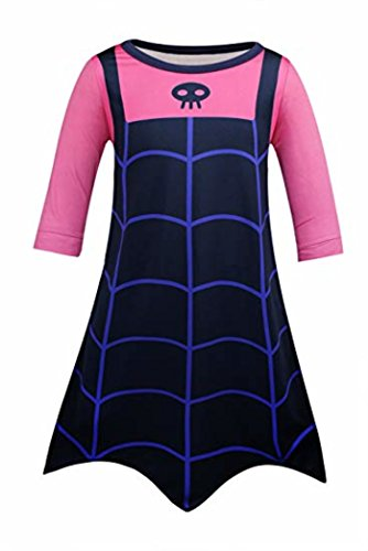 Honeystore Girl's Vampire Cartoon Cosplay Dress Up Costume for Halloween Party Navy and Fuschia Style A Height 51-55in