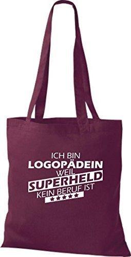Shirtstown Bolso de tela Estoy Terapeuta del habla, weil Superheld sin Trabajo ist Burdeos