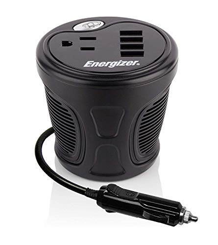 ENERGIZER 150W Cup Inverter + 4 x USB Ports 9.6A (2.4A x 4) 48W - 12V DC Cigarette Lighter to 120V AC to Power Laptop, Notebook & Portable Electronics + USB Ports Compatible with iPad & More - Phone Charger Cell Energizer Portable