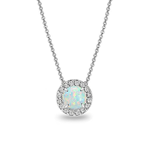 (Sterling Silver Simulated White Opal & White Topaz Round Halo Slide Necklace)