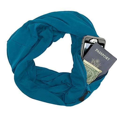 Paon Homme Femme Zippée Bleu Avec Acmede Écharpe Et Unie Poche Couleur Infinity Cachée Pour wwRPnqW7T