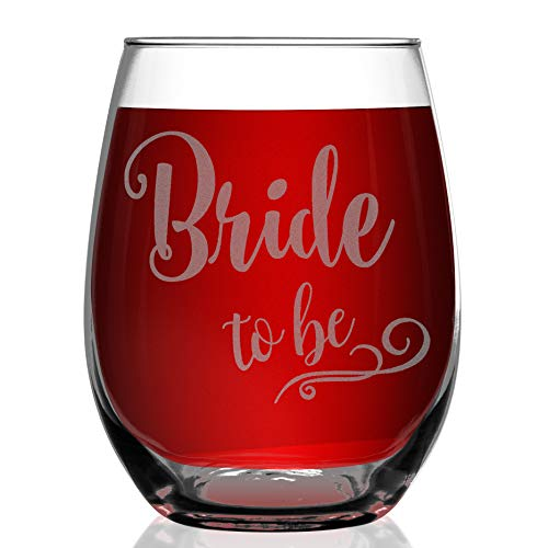 Shop4Ever Bride To Be Laser Engraved Stemless Wine Glass ~ Engagement Wedding Bachelorette Gift for Fiance Future Mrs ~ (Stemless, 15 oz.) -