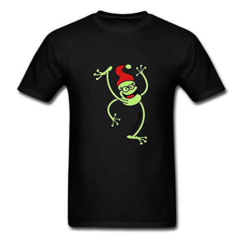 Price comparison product image Sarahdiaz Xxx-large Style Personality Black Short Sleeves - Merry Christmas Frog Print,men