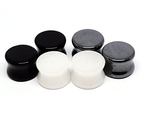 Black And White Stone (Set of 3 Pairs Stone Plugs - 0g - 8mm - (Black Agate, White Jade, Hematite) - Sold As a Pair)