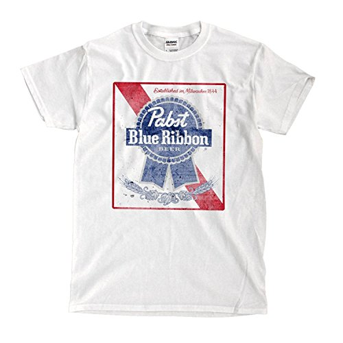 Pabst Blue Ribbon White T-shirt - Ready to Ship! - High-Quality! (l)