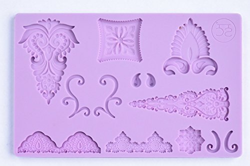 [Bollywood Floral Fondant Silicone Mold] (Bollywood Party Decorations)