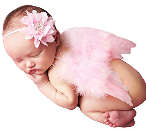 Baby Girls Angel Wings Wing Set Feather Newborn Photography Props - - 4