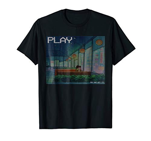 Aesthetic Anime Vaporwave Waiting Sad T-Shirt