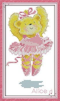 Joy Sunday Cross Stitch kits, Ballet teddy bear,11CT Counted, 18cm×27 or 7.02