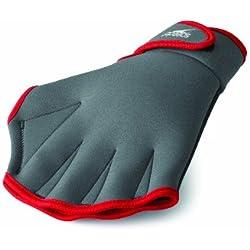 Speedo Aqua Fit Swim Training Gloves, Charcoal/Red, Large