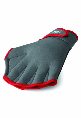 Speedo Aqua Fit Swim Training Gloves, Charcoal/Red, Small (Aqua Glove)