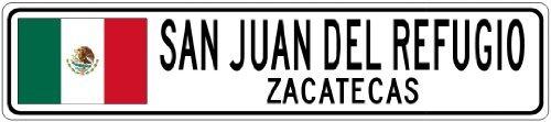 San Juan Racing - Custom Street Sign SAN JUAN DEL REFUGIO, ZACATECAS - Mexico Flag City Sign - 4x18 Inches Aluminum Metal Sign