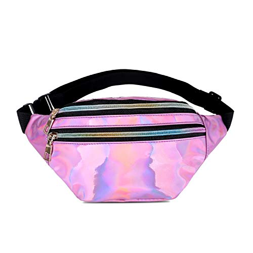 Dolores Holographic Fanny Pack Waist Bag for Women & Men Fashion Bum Bag with Adjustable Belt for Party, Festival, Rave, Hiking, Trip Pink ()