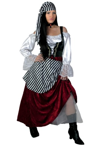Women's Tavern Buccaneer Costume Plus Size Deluxe Pirate Wench Costume 2X Maroon