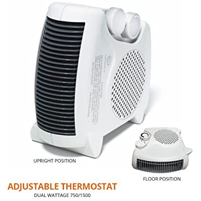 Portable Compact Electric Space Heater & Fan - Floor/upright 1500w with Adjustable Thermostat