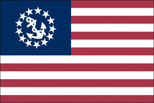 US Yacht Ensign Flag Sticker (us wave (Ensigns Boat)