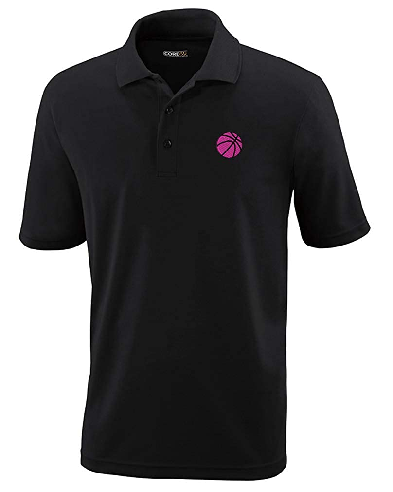 Custom Polo Performance Shirt Sport Basketball Ball D Pink Embroidery Design