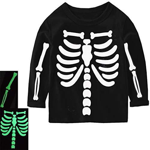 Csbks Halloween Kids Long Sleeve T-Shirt Skeleton Glow in The Dark Boys Girls Tee Tops B 2T