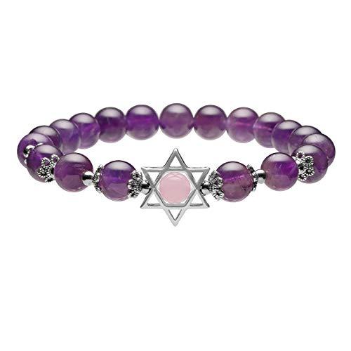 - Jovivi Natural Amethyst Gemstone Healing Crystal Bead Star of David Charm Stretch Bracelet
