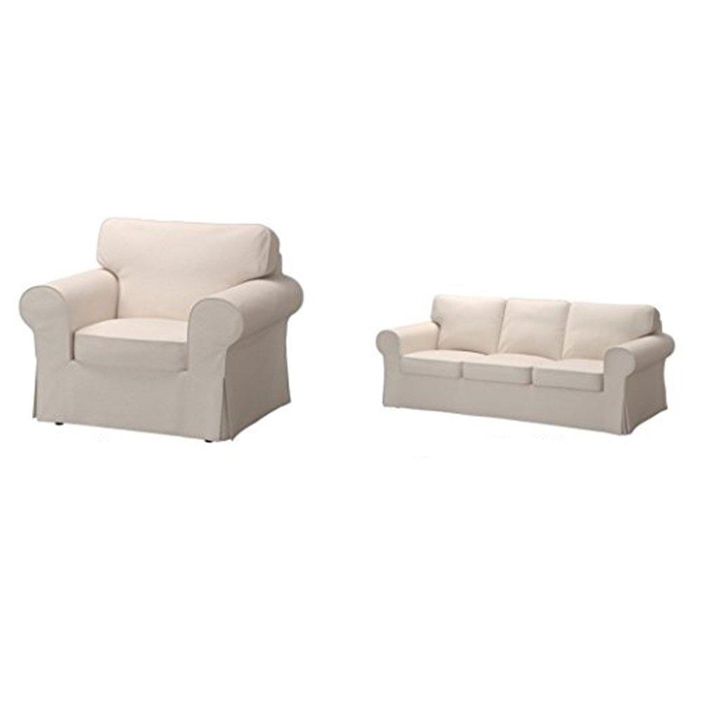 IKEA椅子カバー、ソファソファーカバーBundle – Includes Ektorp椅子カバー(lofalletベージュ) とEktorpソファソファーカバー(lofalletベージュ)   B07B9ZC6L2