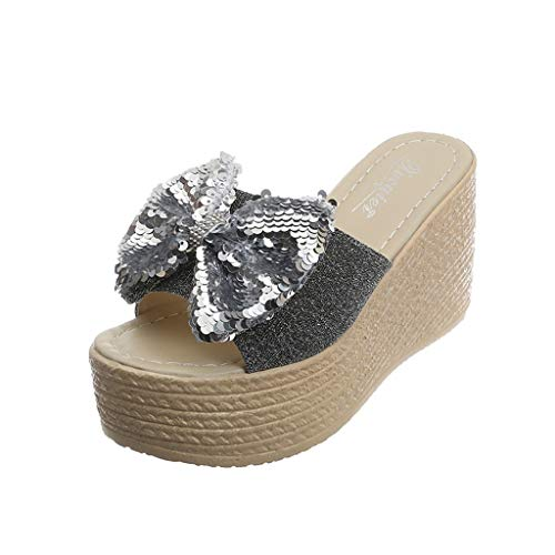 LIM&Shop Graduation Day 2019 Sale Platform Wedge Rhinestone T-Strap Sundress Flip Flop Sandals for Women Wedge Sandal Silver ()