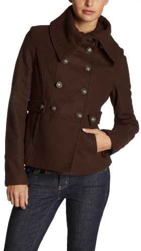 Coffee Shop   Juniors Military Coat,Chocolate,X-Large