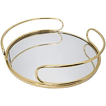 O-Plus Decorative Tray, Gold Metal Mirrored Round Tray with Diameter of 14 Inches (Black/White)
