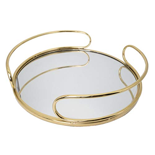 O-Plus Decorative Tray, Gold Metal Mirrored Round Tray with Diameter of 14 Inches (Black/White) (Gold Tray Round)