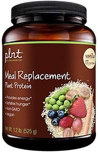 plnt Vanilla Meal Replacement Powder Vegan NonGMO Plant Protein That Provides Energy Satisfies Hunger, 16g of Protein Per Serving 1.2 Pound Powder