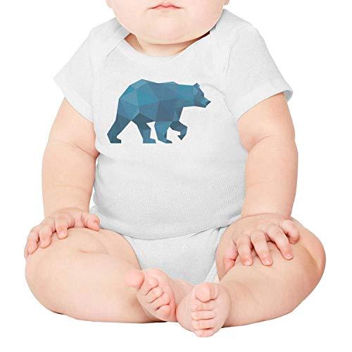 (voslin Blue Plaid Big Bear Walk Baby Unisex White Short Sleeve 100% Cotton Newborn Romper)