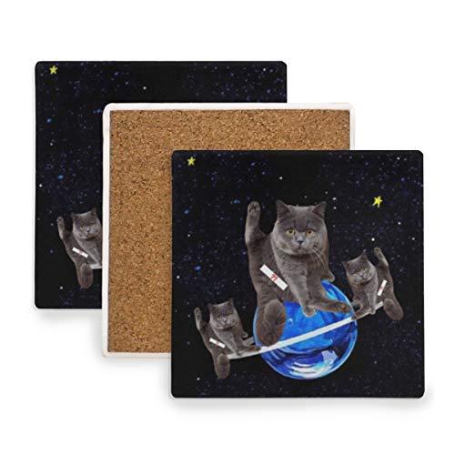 British Shorthair Cat Planet Ceramic Coasters for Drinks,Square 4 Piece Coaster Set