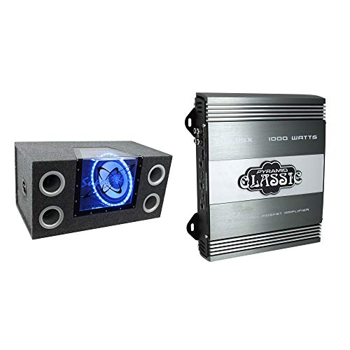 "Pyramid BNPS122 12"" 1200W Car Audio Sub Box Subwoofer Bandpass Box SubsNEW PB715X 1000W 2 Channel Car Audio Amplifier Power Amp MOSFET 2 Ohm"