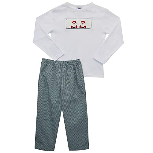 - Santa Hand Smocked Long Sleeve Boys Pant Set